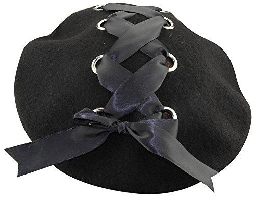 ミナコライフレディースリボン付きベレー帽シンプル無地ブラックレースアップお姫様風フェルト製帽子キャップ(黒)