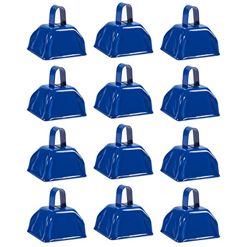 Metal Cowbell with Handle, Blue Noise Maker (3 x 2.8 in, 12 Bells)