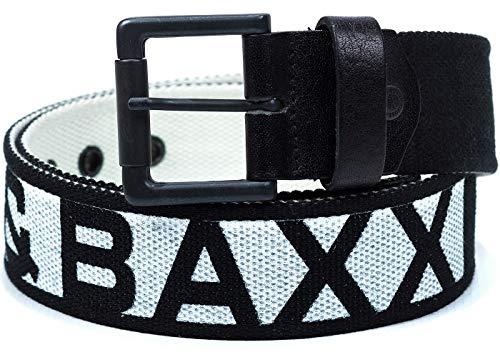 Cipo & Baxx Herren Gürtel-schwarz Shrift-weiß C-2133 105cm x 4,7cm