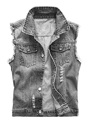 Enjoybuy Mens Sleeveless Ripped Denim Jacket Retro Motorcycle Jeans Vest Raw Cuff Lapel Collar Jacket