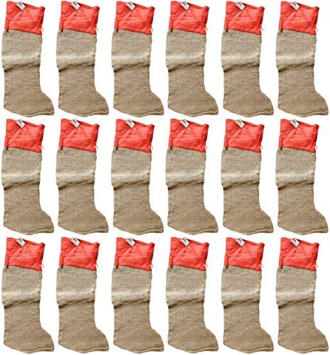 Set van 12 stuks - Grote kerstkousenbroek van jute met rand en rode band 80 cm
