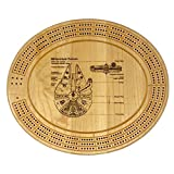 Cribbage Board by Lasers Edge Design - Millennium Falcon Custom Series Handmade Game & Metal Peg Set Pieces Included & Secret Storage - Premium Maple Wood for Playing Crib Card Games Family, Adults