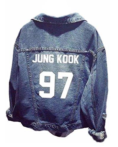 ShallGood Unisex Tops KPOP Tops Chaqueta de Mezclilla Suga Jin Jimin Jung Kook J-Hope...