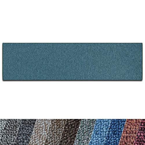 casa pura Teppich Läufer London | Meterware | Teppichläufer für Wohnzimmer, Flur, Küche usw. | Flacher Schlingenflor | mit Stufenmatten kombinierbar (Grün - 66x100 cm)