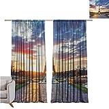 SUZM Cortina de aislamiento térmico con diseño de la Torre Eiffel, paisaje parisino, amanecer con nubes en el horizonte, estatuas de los rayos del sol para dormitorio, jardín de infancia, sala de...