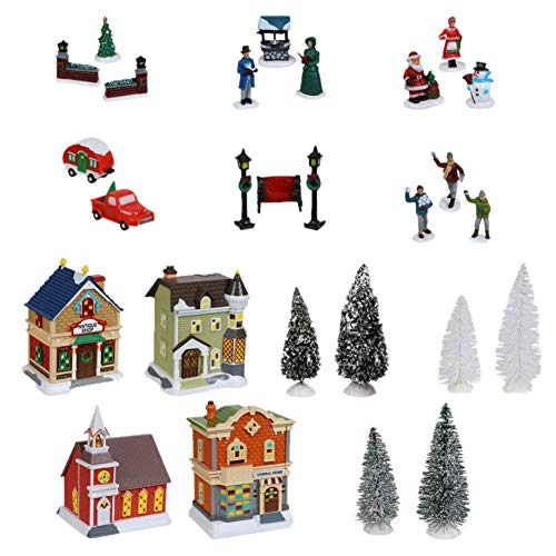 Cobblestone Corners 2020 Christmas Village Collection (27 Pieces) The Entire Collection Comes Gift Boxed! Exclusive Bonus Ornament in Each Box.