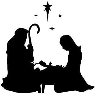 Vinyl Wall Decals Nativity Scene Mary Joseph Kneeling Sticker for Glass Block Christmas TT12120