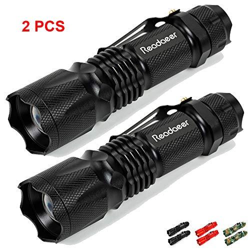 Torcia a LED 2 pezzi con 3 modalità di illuminazione, IPX5 portatile tattico super luminoso impermeabile con clip integrata, zoom e messa a fuoco regolabile (Nero)