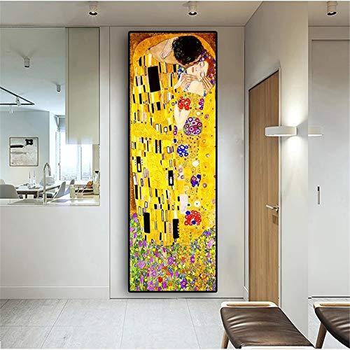 Diamante Pintura 5D diy por número Kit, Beso de Gustav Klimt 24x48in diamante arte completo taladro de cristal bordado punto de cruz cuadros arte arte arte decoración de la pared del hogar