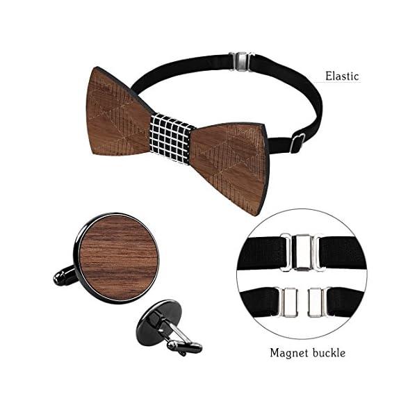 808 Ave Wooden Bowtie Adjustable Neck Band w/Pocket Square & Cufflink Set