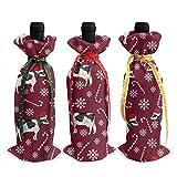 KDU Fashion Red Wine Bottle Cover,Cubierta De Botella De Vino Tinto De Navidad De Menta Holstein, Novedosas Cubiertas De Vino Coloridas para Decoración De Fiesta De Hotel,3pcs/Set
