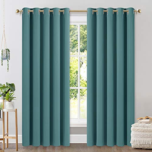 NICETOWN Window Curtain Panels, Thermal Insulated Solid Grommet Blackout Draperies / Drapes (Sea Teal, One Pair, 70 by 84-inch)