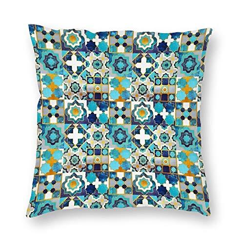 VinMea decoratieve kussenslopen Spaanse Marokkaanse tegels inspiratie gooien kussensloop kussensloop huis kantoor decor, vierkant 22 X 22 inch