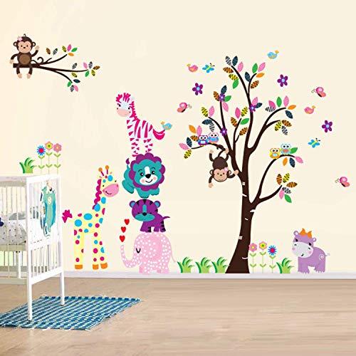 Walsplus Wand Sticker Aufkleber Papier Kunst Dekoration Fröhliche Tiere Baum Kinderzimmer Deko
