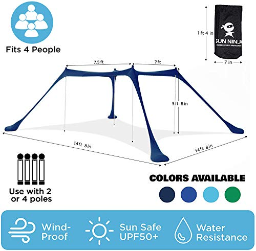 SUN NINJA Pop Up Beach Tent Sun Shelter UPF50+ with Sand Shovel, Ground Pegs,and Stability Poles, Outdoor Shade for Camping Trips, Fishing, Backyard Fun or Picnics (10x10FT 4 Pole, Navy)