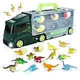 Symiu Dinosaurios Coches de Juguete Animales Juguetes Dinosaurio Coche Juguete con 12 Dinosaurios Juguetes y 6 Huevos de Dinosaurio Juegos Educativos Niños 4 5 6 3 Años (37cm * 9,4cm * 13,5 cm)