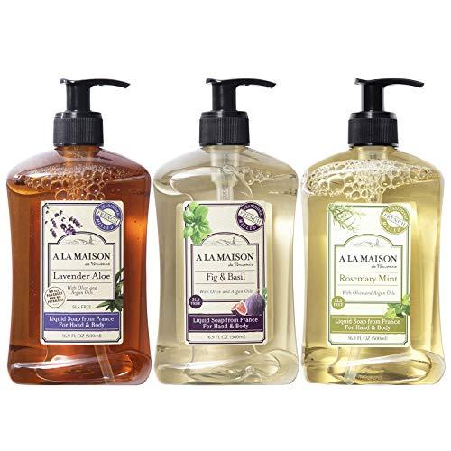 A La Maison de Provence Liquid Soap Fig & Basil, Lavender Aloe & Rosemary Mint - 16.9 Fl Oz each