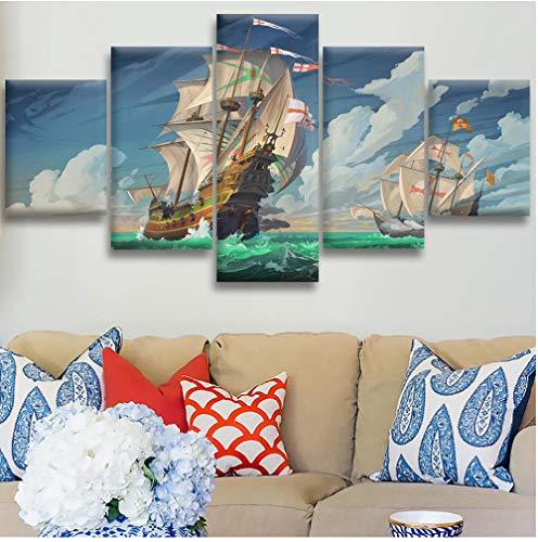 GYJCD Leinwand HD druckt Bilder 5 Stück Kreuzritter Segelbilder Home Wandkunst Dekor Poster yk30x40x2 30x60x2 30x80cm