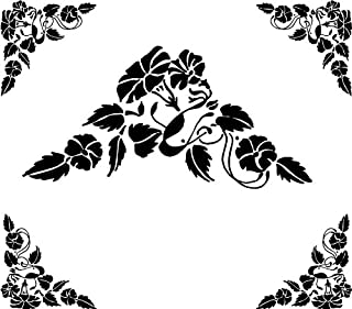 4 Corner Images - Flowers & Leaves - Etched Vinyl Stained Glass Film, Static Cling Window Decal