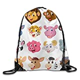 YuYfashions Cartoon Animal Head Collection Set Drawstring Pack Beam Mouth Gym Sack Shoulder Bags For Men & Women Beam Mouth Package A3134 Mochila con Lazo