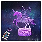Luces de Noche de Unicornio 3D, Juguetes para Niñas Niños Lámpara de Ilusión de Hadas...