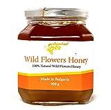 900 g Miel de bosque flores silvestres y hierbas, Certificado sin antibióticos, sin azúcar, sin calentar, sin pasteurizar, crudo, miel real BulgarianBee®