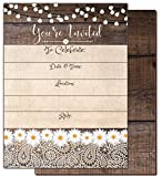 Rustic Country Fill-in Lace & White Flowers Invitations All Occasion Fill in invites 5 x 7 Bridal Shower Wedding Rehearsal Dinner Birthday Baby Shower Anniversary Bachelorette Retirement 20 Count