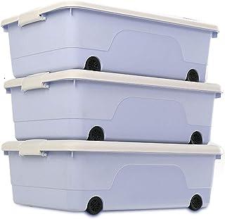 Boîte de Rangement vêtement saisonnier sous lit 3 Packs Fond Du Tiroir Boîte De Rangement En Plastique Plat Vêtements Orga...