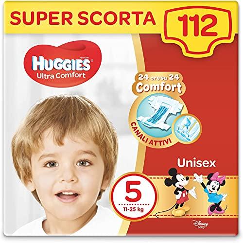 Huggies Pannolini Ultra Comfort, Taglia 5 (11-25 Kg), Confezione da 112 Pannolini
