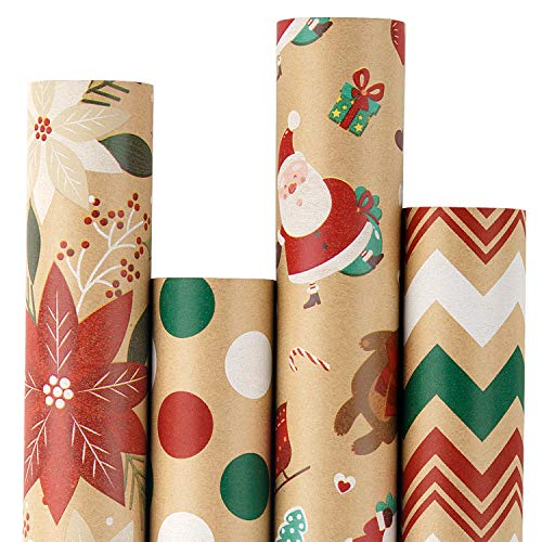 RUSPEPA Christmas Wrapping Paper, Kraft Paper - Flowers, Santa Claus, Stripes and Dots - 4 Rolls - 30 inches x 10 feet per Roll