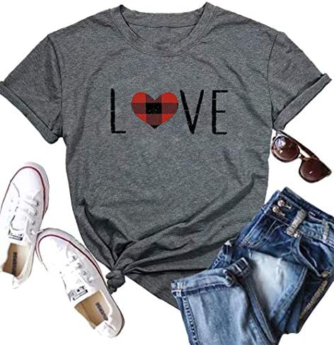 Love Heart Graphic Tee T Shirts for Women Teen Girls Cute Graphic T Shirts Tee Top Top with product image