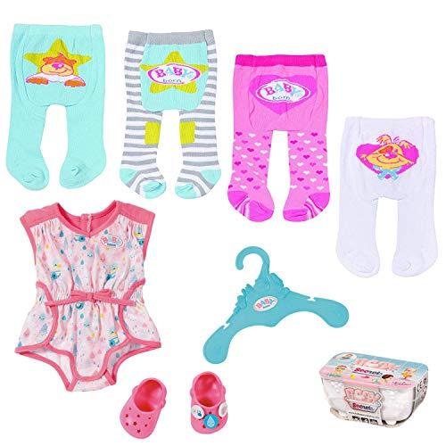 SPAR-SET 173721 Set B - Zapf - Baby Born - Kleidungsset mit 4 Strumpfhosen + Pyjama mit Clogs