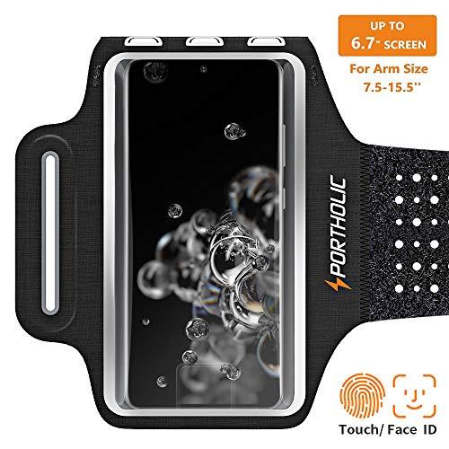 PORTHOLIC Schweißfest Sport Armband für iPhone 11 Pro Max XR XS Galaxy S20+ S20 A50 A40 Huawei P30 P20 Xiaomi, Verlängerungsband, Kartensteckplatz, für Handy Bis zu 6,7