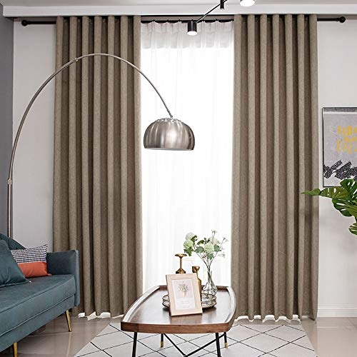 Brown Linen Blackout Curtain Thermal Insulated Bedroom Window Drapes Simple Modern Solid Color Burlap Grommet Soundproof Privacy Curtain Panels 96 Inches Long