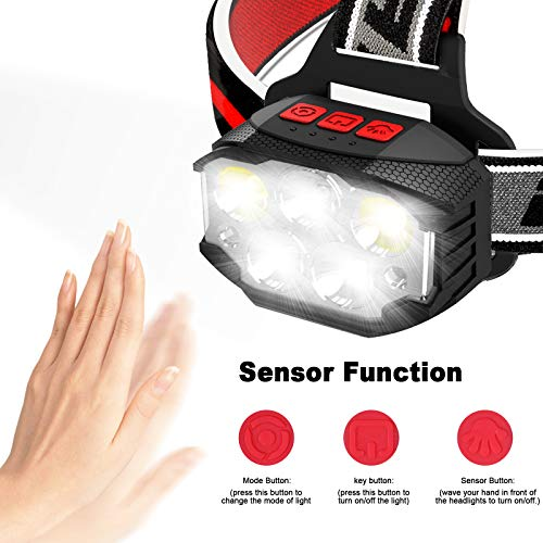 ulocool LED Head Torch, USB Rechargeable Headlamp with 5 Lights, Super Bright 1100 Lumens Headlight, Hands-Free Flashlight for Running, Camping, Fishing, Cycling, Hiking, Waterproof