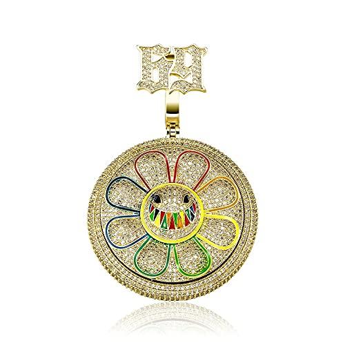 Fantex Colgante de emoticono de 6ix9ine, chapado en oro de 18 quilates, chapado en oro de 18 quilates, diamante de laboratorio, margarita, girasol, hip hop, collar para hombres y mujeres