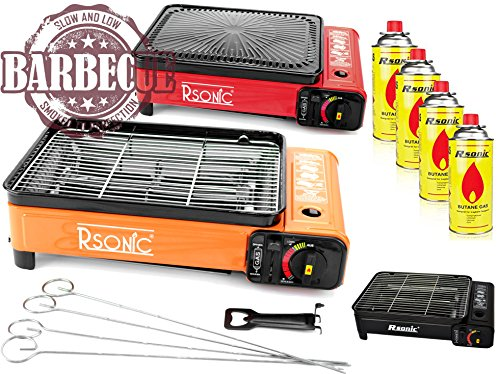 XXL Campingkocher Gaskocher Tragbarer Gaskocher RS-4030 Gasgrill Gasbrenner (Kocher mit 4 Kartuschen)