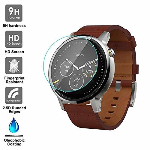 KAIBSEN® für Motorola Moto 360 2nd Generation 42/46mm Smart Watch 2.5D gehärteter Glasschirm Schutz, HD Clear Glass Film No-Bubble, 9H Festigkeit, Kratz Widerstand
