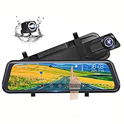 "Poaeaon Backup Camera 10"" Full Touch Screen Mirror Dash Cam."