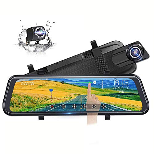 Poaeaon Mirror Dash Cam for Cars with 10'' HD Full Touch Screen, Front and Rear Dual Lens with Waterproof Camera, Adjustable Wide Angle, WDR Night Vision, Parking Assistant, 24-Hour Parking Monitor