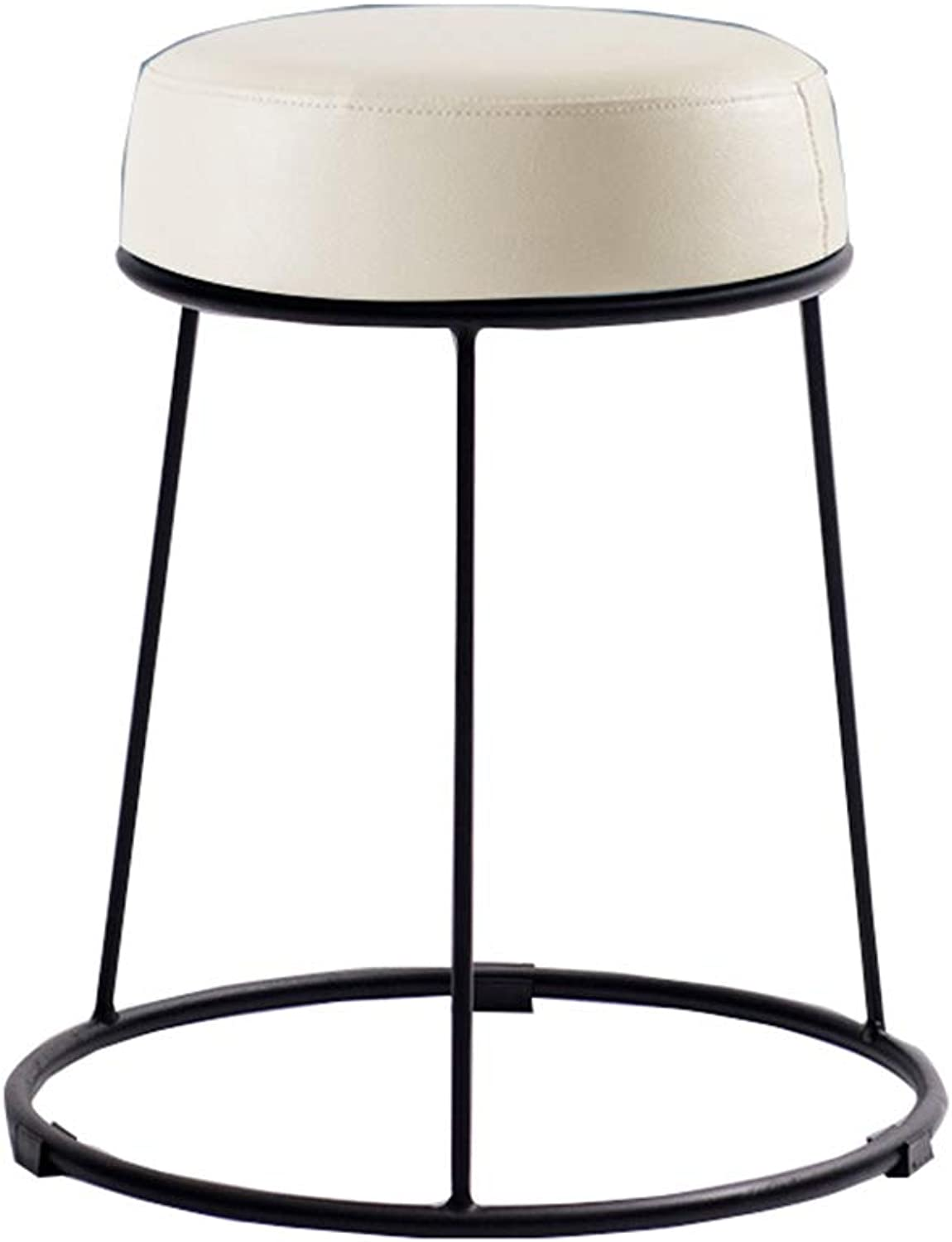 Stool Artificial Leather Home Dining Table Plus Stool Cafe bar Mobile Anti-Slip Stool (color   H)