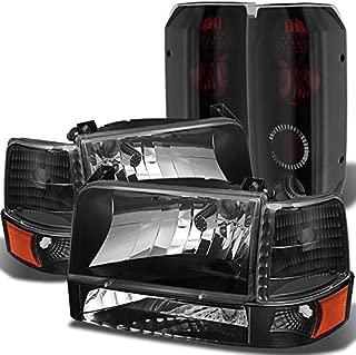 For F150 F250 F350 Bronce Black Headlights Lamps + Corner + Bumper Signal + Black Smoke Tail Lights