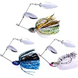 SUNMILE Fishing Buzzbait Spinnerbait Lures Double Willow Blade Spinner Baits for Bass Pike Metal Fishing Lure Pack of 3pcs (Mixcolor spinnerbait 1\/2oz)