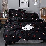 Cute Mushroom Duvet Cover Full, Kid Cartoon Bedding Set, Red Mushroom Comforter Cover Set, Fungus Duvet Cover, Farmhouse Botanical Bedspread Cover, Lovely Natural Wild Plants Quilt Cover, Black