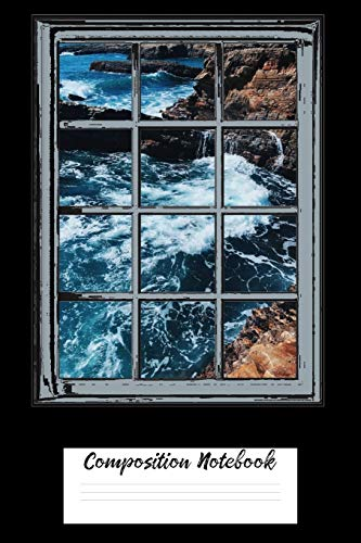 Composition Notebook: Ocean Life Whirlpool Waves Crashing On Rocks 6 x 9 120 Pages Wide Ruled Lined Journal
