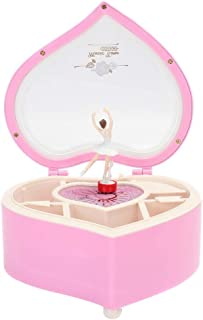 Musique Boîte à Bijoux en Forme de Coeur Danse Ballerina Cadeau for Les Filles Boîte à Musique MJZGYY (Color : Rose, Size ...