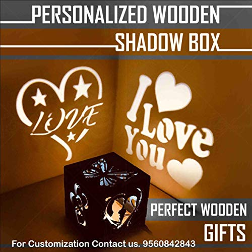 Shaivya Customised Wooden LED Fitted Heart Shaped Shadow Box Having All Personalised Options (Brown, 5 x 5 x 5 inches)