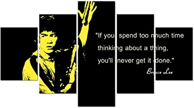 Living room wall home decor art picture HD 5 panel Kung Fu star Bruce Lee poster frame print on modern painting canvas
