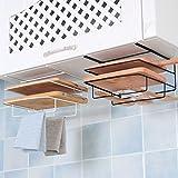 Milue Under Cabinet Cutting Board Towel Storage Rack Multifunctional Kitchen Organizer (White)