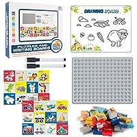 パズル絵画ボードおもちゃセットデュアルパーパスビルディングブロックパズル、2 in 1ジグソーパズルと落書きボードおもちゃキット、2ペン、1ボード96パズル、子供がおもちゃを学ぶ